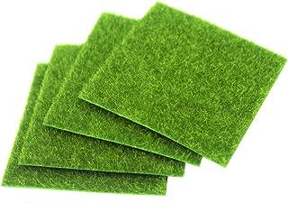 FineInno 4 Sheets Artificial Grass Moss Synthetic Lawn Carpet Fake Turf Mat Grass Decor Green Pad Rug Non-Toxic 6x6inch/15x15cm (6inch/15cm,4 pcs)
