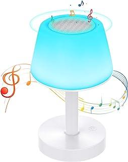 Lámpara de Mesa, Luz de Noche LED con Altavoz Bluetooth, Control Tactil, Regulable, USB Recargable, Cambio de Colores, Reproductor de MP3 para Niños, Habitación, Cámping - Uverbon