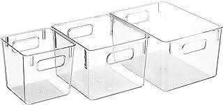 FEGSX 3 pièces Garde-Manger Organisateur boîte ménage en Plastique Panier de Rangement des Aliments avec poignées découpée...