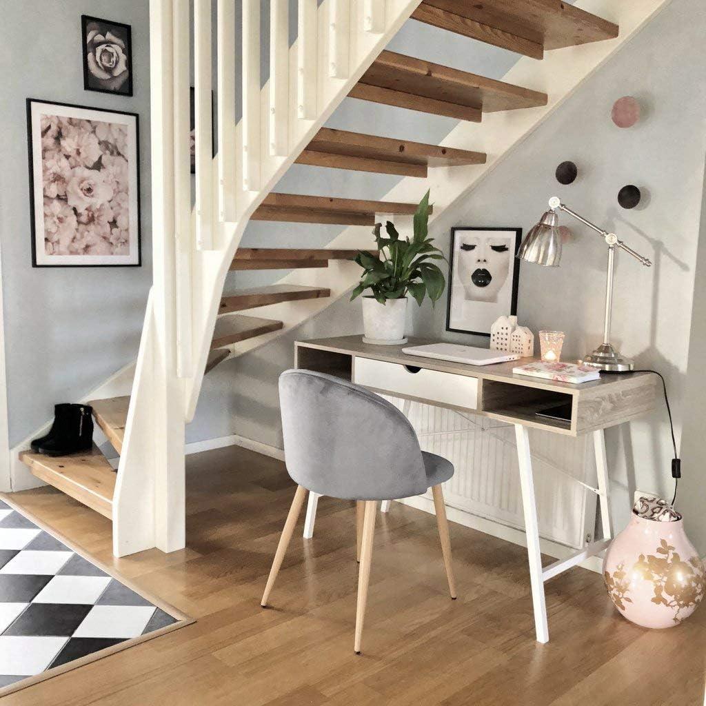 Nimara Lot de 2 Chaises en velours au design scandinave, chaise de salle à manger et chaise de cuisine en tissu, chaise de salle à manger Gris