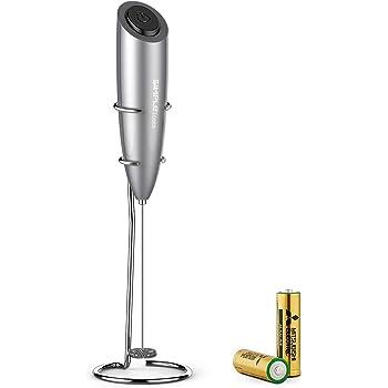 SIMPLETASTE Frullino Montalatte Schiumatore Cappuccinatore per Latte Schiumalatte, Cappuccino, Grigio, Batterie Incluse