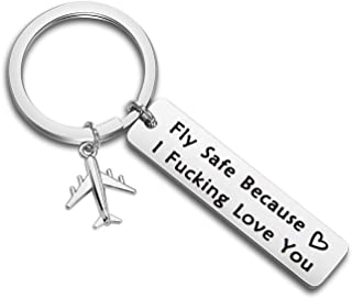 MAOFAED Fly Safe Keychain Pilot Gift Fly Safe Because i Fucking Love You Flight Attendant Gift Traveling Keychain Gift for Flight Staff Airline Worker