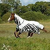 Bucas Buzz-Off Rain Zebra Full Neck - Fliegendecke/Ekzemerdecke, im Rückenbereich wasserdicht und atmungsaktiv, Groesse:115