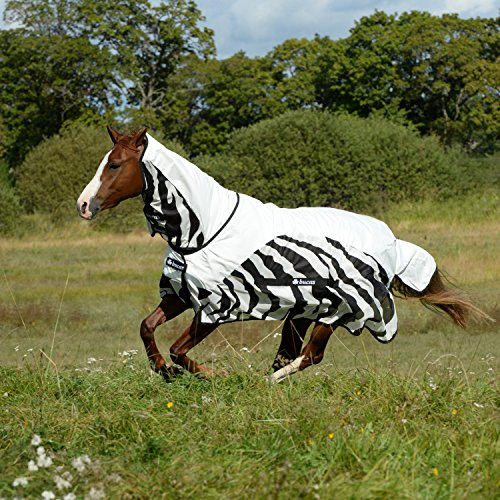 """Bucas Buzz-Off Rain Zebra Full Neck Fly Rug 6-9\"""" Black/White"""
