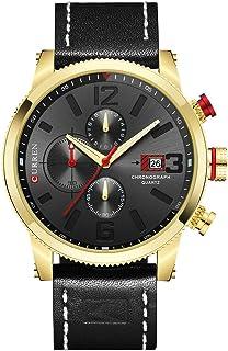 Men Quartz Watches Men's Multifunction Waterproof Watch Man Casual Sport Chronograph Wristwatch (Gold Grey)