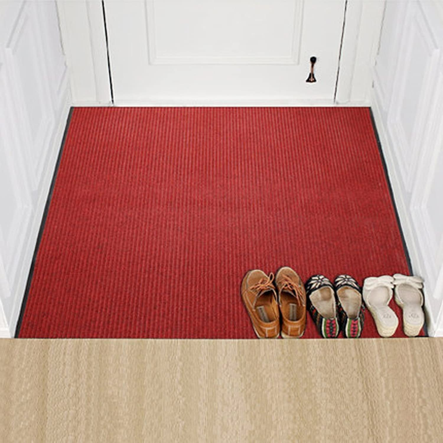 Modern Entrance Mat Premium Entry Mat for Home and Business-Absorbent,Non Slip Dirt Trapper Mats-red 80x120cm(31x47inch)