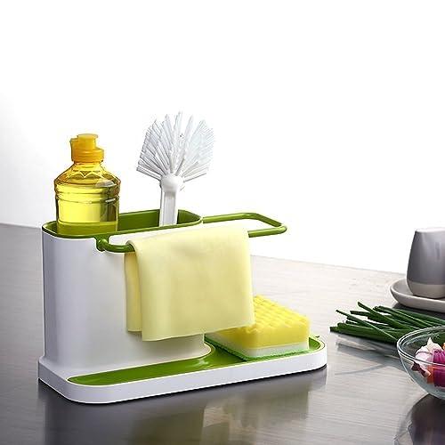 Slings 3 in 1 Bathroom Kitchen Sink Organizer for Dishwasher Liquid, Brush, Cloth, Soap, Sponge, Made in India