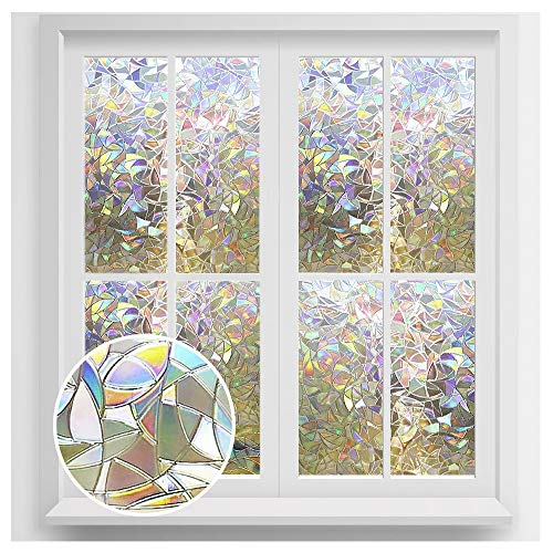 rabbitgoo Privacy Window Film, Rainbow Window Clings, 3D Decorative Window Vinyl, Stained Glass Window Decals, Static Cling Window Sticker Removable Non-Adhesive UV Blocking 23.6 x 78.7 inches