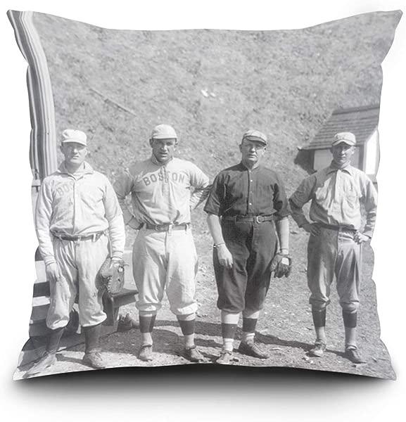 Lantern Press Boston Red Sox Cy Young In Black Baseball Photo 16x16 Spun Polyester Pillow Square