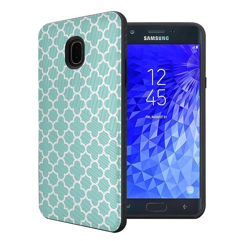 Capsule Case Compatible with Samsung Galaxy J7 2018 (J737), J7 Star, J7 Aero, J7 Refine, J7V 2nd Gen, J7 Crown, J7 Eon [Embossed Diagonal Layer Slim Case Black] - (Quatrefoil)