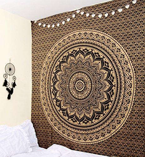 RawyalCrafts - Tapisserie/couvre-lit original à motif mandala indien/hippie - Décoration d'intérieur - Collection unique - Noir et doré