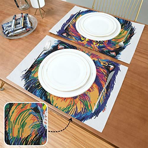 Set de Table Tête Lion Multicolore Pop Art, Tapis de Table antidérapants résistants à la Chaleur, adaptés à la Table à Manger, au Bureau de Cuisine à la Maison et à l'extérieur, Lot de 6