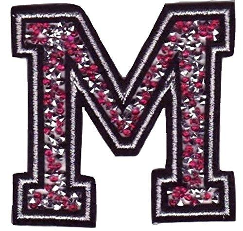 Bügel Iron on Buchstaben Aufnäher Patches für Jacken Cap Hosen Jeans Kleidung Stoff Kleider Bügelbilder Sticker Applikation Aufbügler zum aufbügeln Buchstaben CA 8-10 cm (pink M)