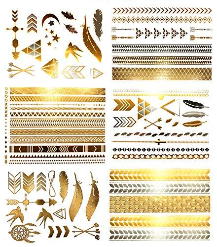 Terra Tattoos Hazel Collection - Tatuajes temporales metálicos para el cabello, más de 75 diseños, oro y plata (6 láminas)