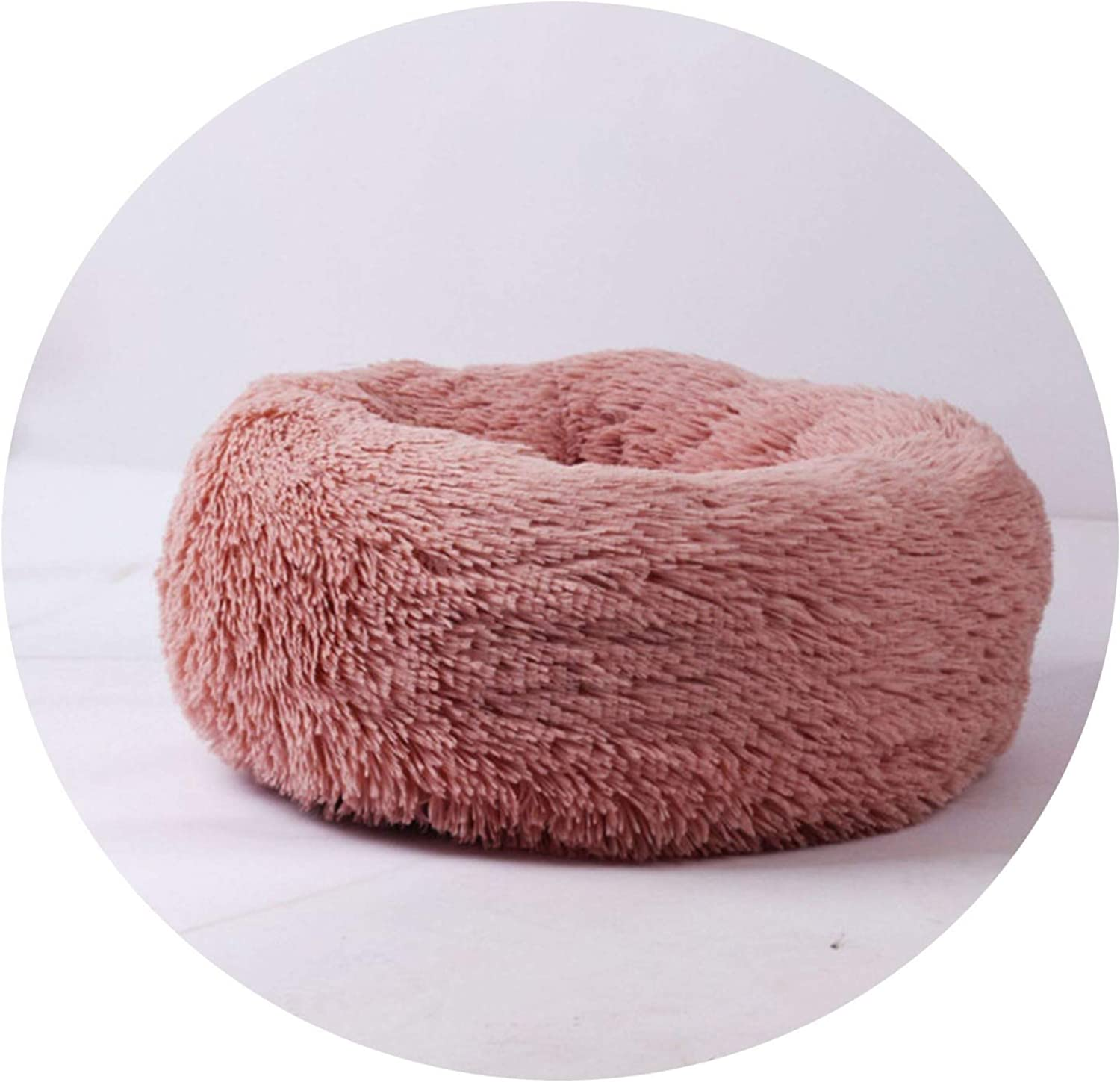Sex Appealing Luxury Dog Bed Warm Deep Sleep Thick Donut Pet Beds for Cat Small Medium Dogs LongPile Plush Soft Round Dog House,Skin Pink,L 65cm 14kg pet