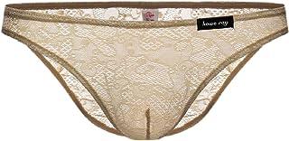 Men 3Pack Lace Triangle Transparent Sexy Elastic Waist Boxer Briefs