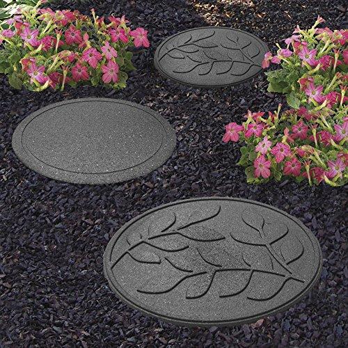 Garden Gear Garden Stepping Stones Ornamental Path Eco Friendly Weatherproof Recycled Rubber Leaf Design (12 Stones, Grey)