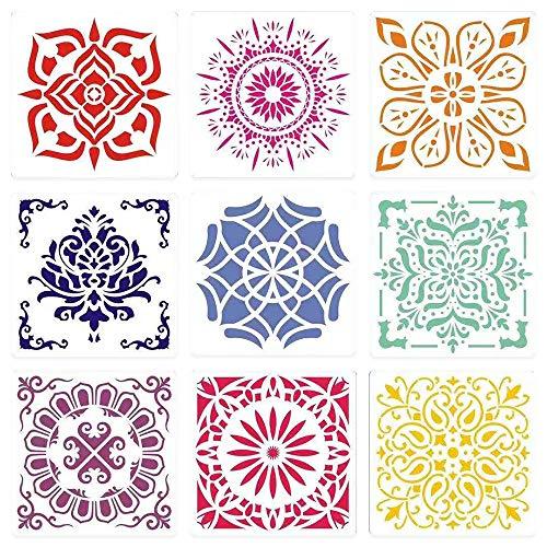 Painting-Stencils,Sosanping Drawing-Mandala-Template Reusable-Laser-Cut-Painting-Stencil for DIY-Decor, Wood, Airbrush, Rocks,Floor and Walls Art (9 Pack)