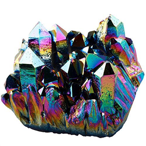 SUNYIK Rainbow Aura Titanium Coated Crystal Cluster,Quartz Drusy Geode Gemstone Specimen Figurine(0.4-0.45lb)
