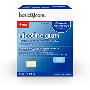 Basic Care Nicotine Polacrilex Gum, 4 mg (nicotine), Stop Smoking Aid, Original Flavor Uncoated, 220 Count