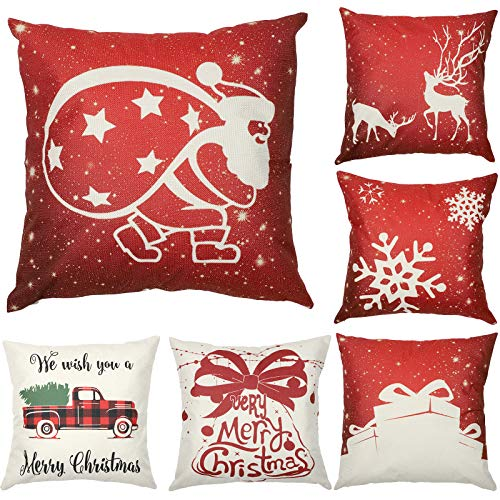 Christmas Pillow Covers 18x18 Set of 6 Farmhouse Decorations Home Decor, Red Couch Fall Throw Pillow Cover for Sofa Bedroom Car Winter White