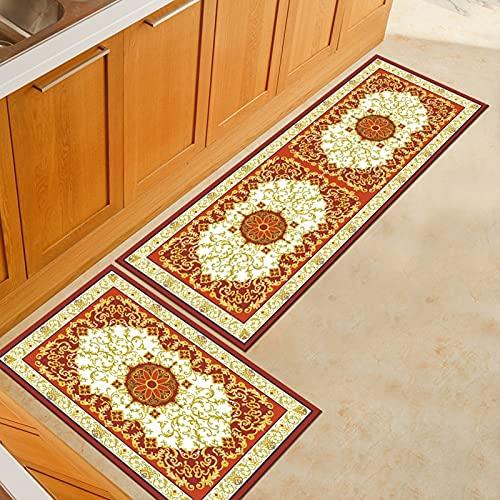 Alfombrillas de Cocina con impresión Persa, alfombras de Puerta de Entrada para decoración de Dormitorio, Sala de Estar en casa, alfombras Antideslizantes para baño A5 40x60cm