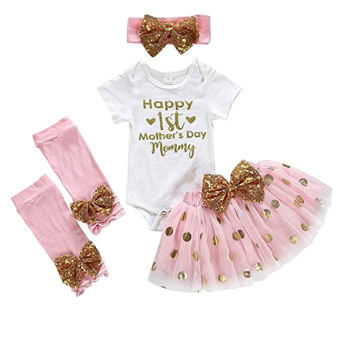 SUPEYA Baby Girls Happy First Mothers Day Outfits Romper+Dot Skirt+Headband 4Pcs Set