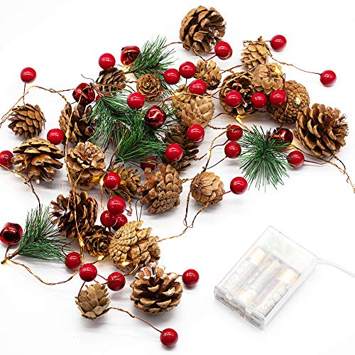 Christmas Garland String Lights, Pine Cone Light Battery Operated with Red Berry and Bells, 6.56ft 20 LED Indoor/Outdoor Fairy Twinkle Gift Light for Xmas Decor Party New Year Thanksgiving Decorations