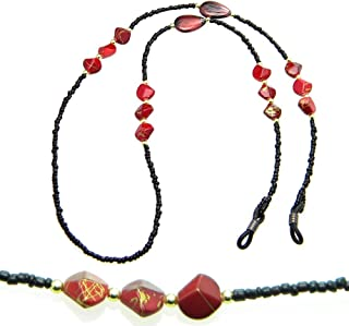 PlanetZia Black Seed Bead and Red Nuggets Beaded Eyeglass, Sunglass Holder Chain Necklace with Grips TVT-EG-24-1