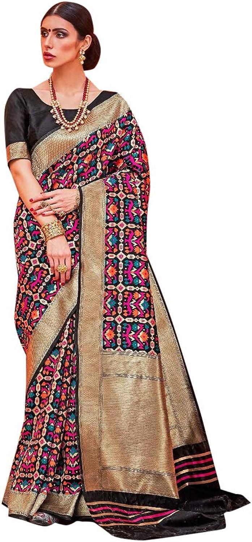 Indian Saree Ethnic Silk Multicoloured Handloom Designer Collection Sari Party Wear 7290