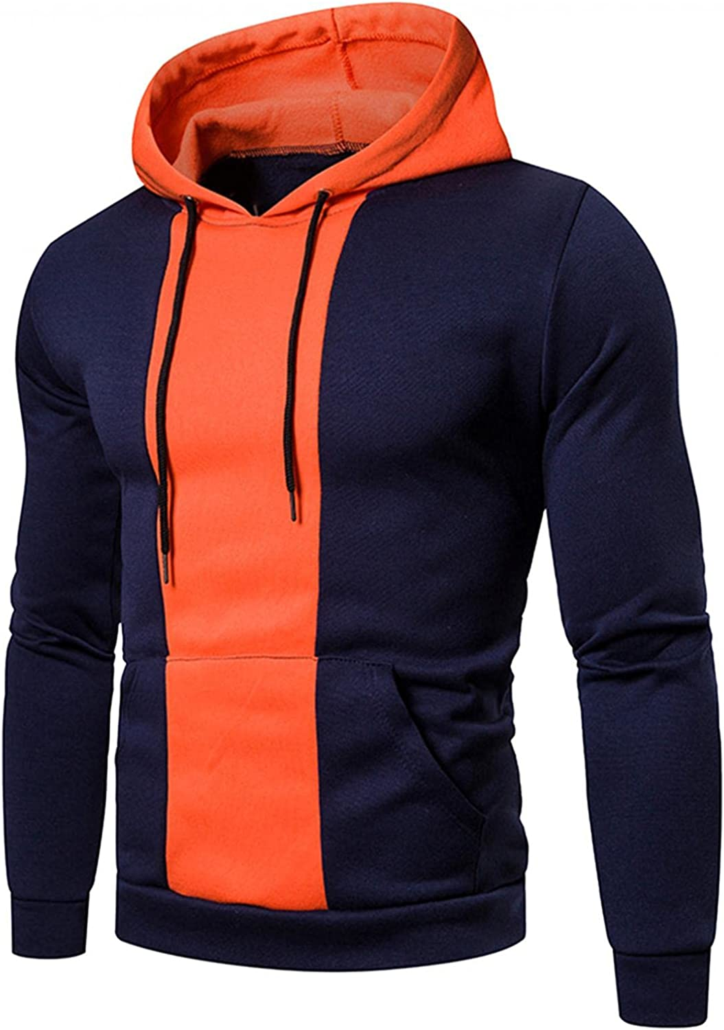 Hoodies for Men Fashion Pullover Color Splice Quick Dry Sweatshirt Patchwork Drawstring Casual Mens Hoodies