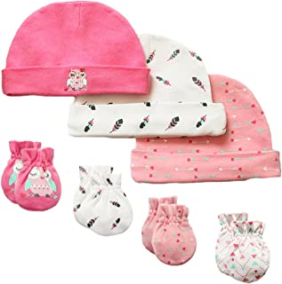 197e90a7cfa 7 Piece Scratch Mittens and Caps Set Infant Newborn Gift Set For Baby Boys    Girls
