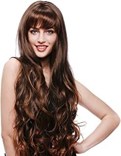 Dark Brown Long Wavy Curly Wig with Synthetic Wig for Women Daily Party Cosplay Wigs (Dark Brown) DIY Fun (Color : Brown)