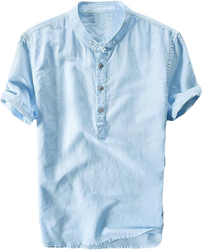 Runcati Mens Linen Henley Shirts Beach Short Sleeve Cotton Tops Lightweight Tees Plain Summer T Shirt