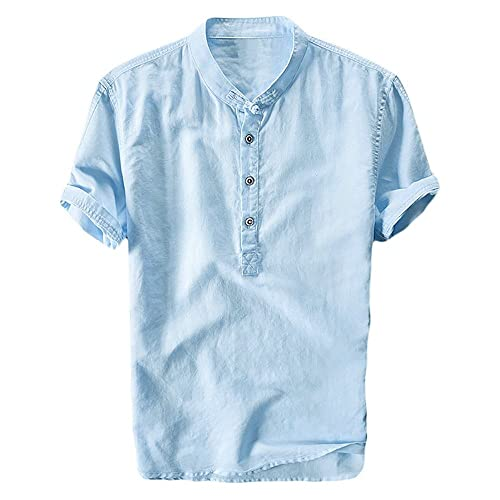 2237b40411 Mens Cotton Linen Shirts Beach Short Sleeve Frog Button Up Tops Lightweight  Tees Plain Summer Mandarin