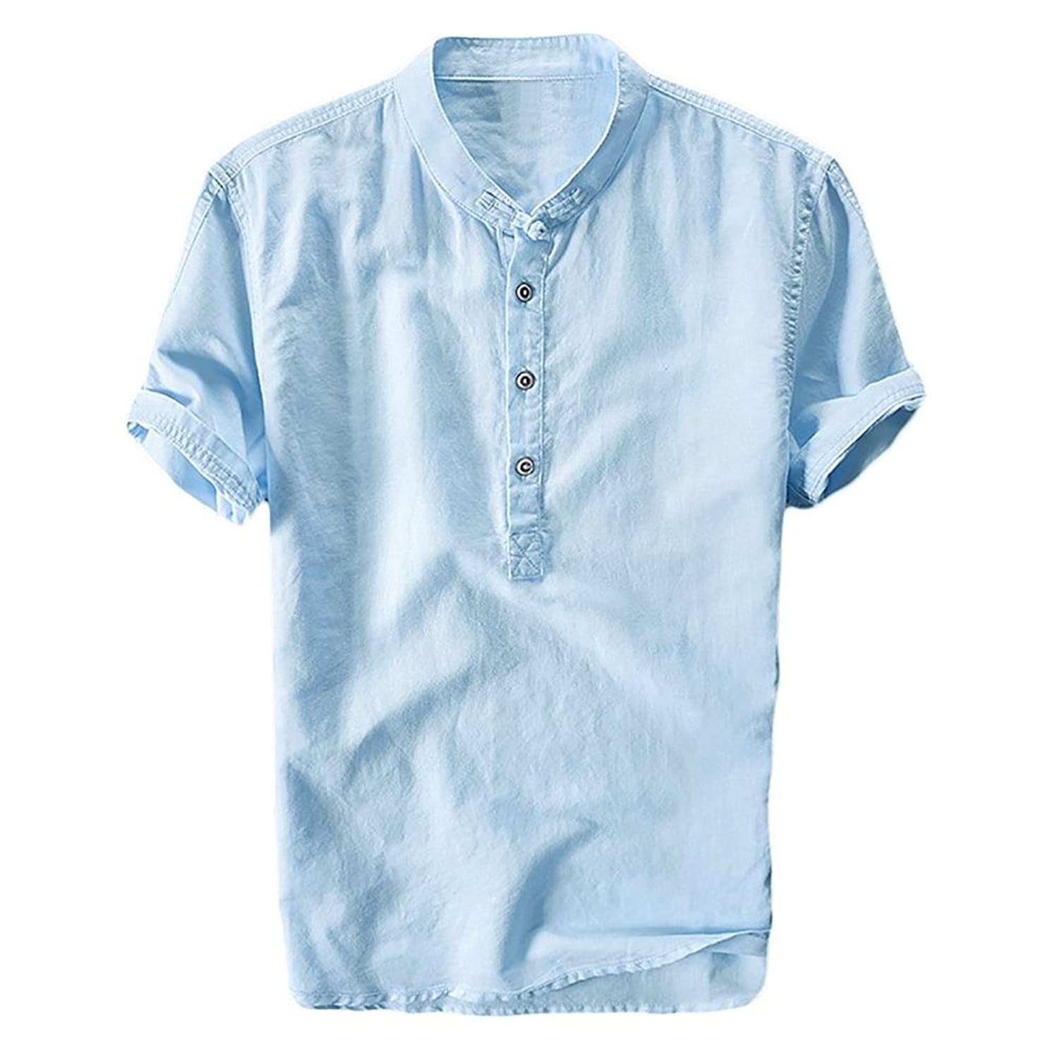 Mens Linen Henley Shirt Casual Short Sleeve T Shirt Pullovers Tees Retro Frog Button Cotton Shirts Beach Tops