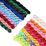 PH PandaHall 20 Colors 1mm Chinese Knotting Cord Nylon Kumihimo Macrame Thread Cord Beading String for Macrame Friendship Bracelet Making(About 400m/ 430yards)