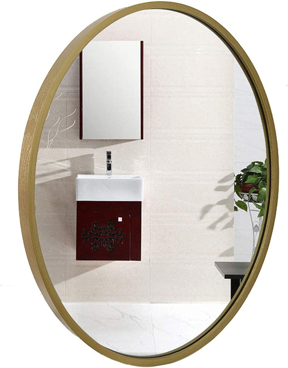 Large Simple Oval Wall Mirror Solid Wood Frame Oval Makeup Mirror Best for Vanity, Bedroom, or Bathroom