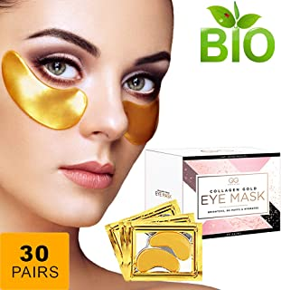 Gold Glow 24k Collagen Under Eye Patches,Gel Mask,Hyaluronic Acid Reduces Puffiness,Dark Circles,Anti Wrinkle,Anti Aging Gold Eye Mask,Hydrogel,Undereye Bags Treatment,Puffy Eye Pads For Men women
