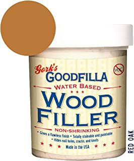 Water-Based Wood & Grain Filler by Goodfilla | Replace Every Filler & Putty | Repairs, Finishes & Patches | Paintable, Stainable, Sandable & Quick Drying (8 oz, Red Oak)