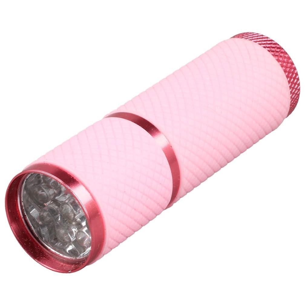 スクリーチかごわずかにCikuso 1個 ミニ9 LED Uv ゲル硬化ランプ バッテリーなし 携帯性ネイルドライヤー LEDフラッシュライト通貨検出器 アルミニウム合金 ピンクカラー