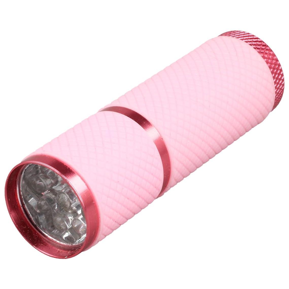 致命的なモンスター織るCikuso 1個 ミニ9 LED Uv ゲル硬化ランプ バッテリーなし 携帯性ネイルドライヤー LEDフラッシュライト通貨検出器 アルミニウム合金 ピンクカラー