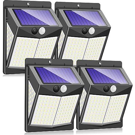 4X Waterproof Solar PIR Motion Sensor Wall Light Outdoor Yard Garden Garage Lamp