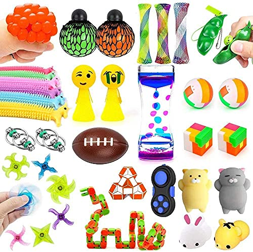 Sensory Fidget Toys Set 30 Pack. Stress Relief and Anti-Anxiety Tools Bundle for Kids and Adults, Fidget Hand Toys with Liquid Motion Timer, Marble and Mesh & More, Calming Toys for ADHD Autism