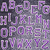Iron on Letters Patches Sew on Embroidered Patches 26 Piece Purple Letter A-Z Ironed Adhesive Patch Alphabet Applique Patches DIY Badge Decorative Repair Patches for Hat Shirts Shoes Jeans Clothing
