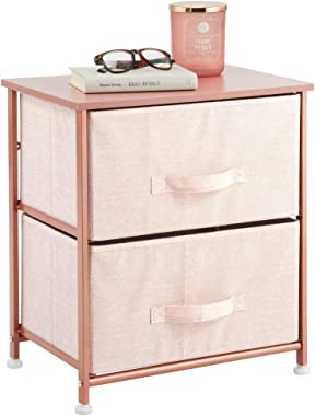 mDesign End Table/Night Stand Storage Tower - Sturdy Steel Frame, Wood Top, Easy Pull Fabric Bins - Organizer Unit for Bedroo