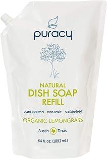 Puracy Natural Dish Soap Refill, 64 Ounce, Organic Lemongrass, Sulfate-Free Liquid Detergent