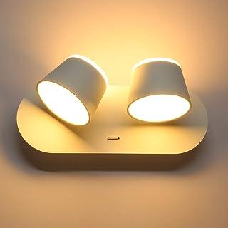 Wowatt 12W LED Appliques Murales Intérieur Pivotante Blanc Chaud 3000K Lampe Mur LED 960LM Éclairage Veilleuse Moderne Spo...