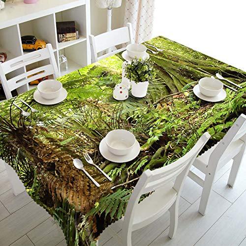 XXDD Mantel 3D con Paisaje Forestal, sombrilla Amarilla con patrón de árboles, Mantel Rectangular de algodón Lavable para variación de Boda A2