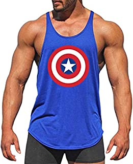 EVERDESIGN Men's Workout Tank Top Bodybuilding Fitness Sweat Muscle Gym Vest Y-Back Shirts